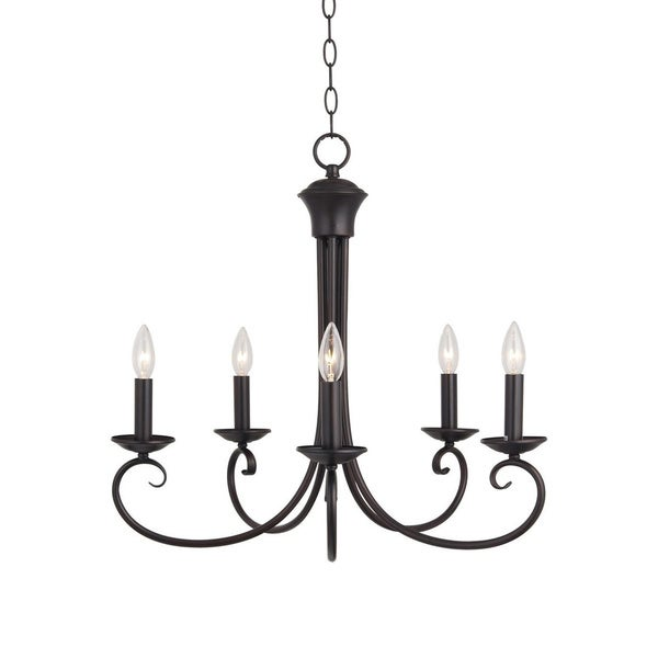 Maxim 5-light Bronze Loft Single Tier Chandelier