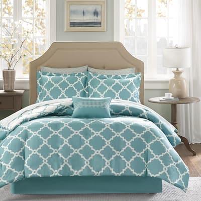 Madison Park Essentials Concord Aqua Reversible Complete Comforter and Cotton Sheet Se