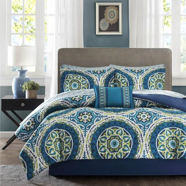 Madison Park Essentials Odisha Blue Complete Comforter and Cotton Sheet Set