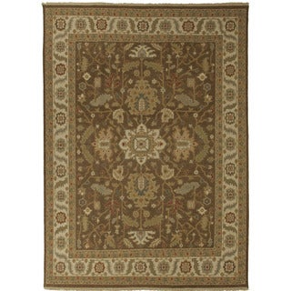 Hand-Knotted Floral Brown Area Rug (9' X 12')
