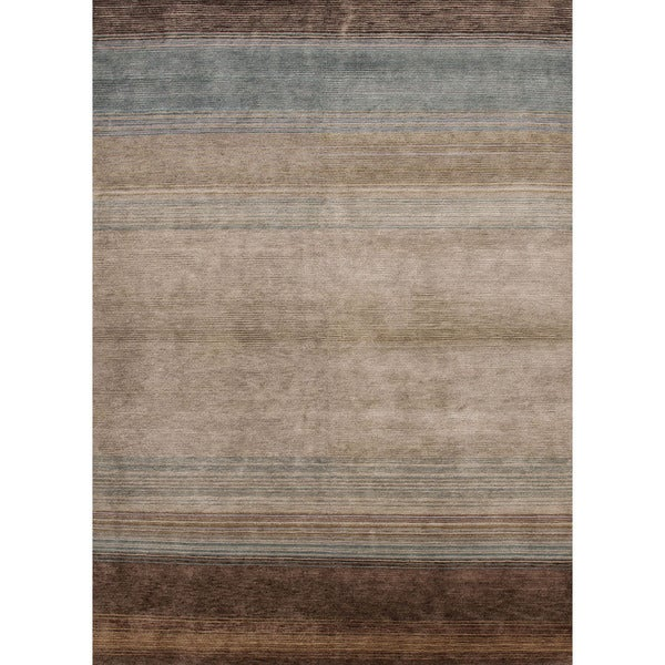Hand-Knotted Stripe Pattern Blue/Brown (5.6x8.6)