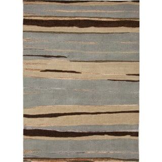 Hand-Knotted Abstract Pattern Blue/Brown (2x3) - J215 Area Rug