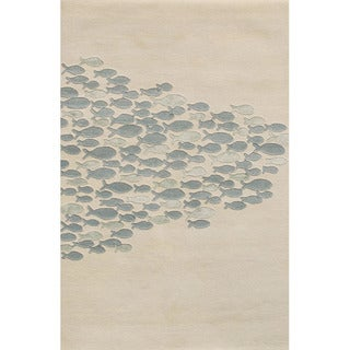 Hand-Tufted Animal Print Pattern Ivory/Blue (3.6x5.6) - CH02 Area Rug