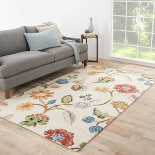 Bloomsbury Handmade Floral White/ Multicolor Area Rug (5' X 8') - 5' x 8'