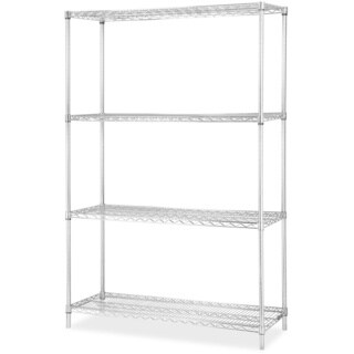 Lorell Industrial Wire Chrome Shelving Starter Kit