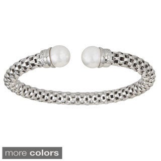 Decadence Sterling Silver and Freshwater Pearl Popcorn Cuff Bangle