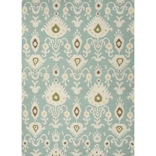 Flat-Weave Tribal Pattern Blue/Ivory (8x10) - UB18 Area Rug
