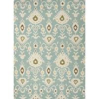 Cinta Handmade Ikat Blue/ White Area Rug (8' X 10') - 8' x 10'