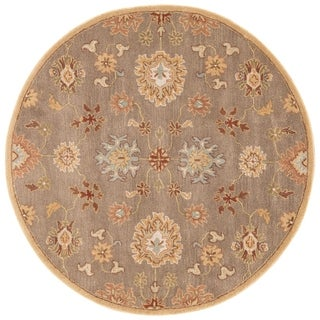 Hand-Tufted Oriental Pattern Brown/Red (8x8) - PM14_RD Area Rug