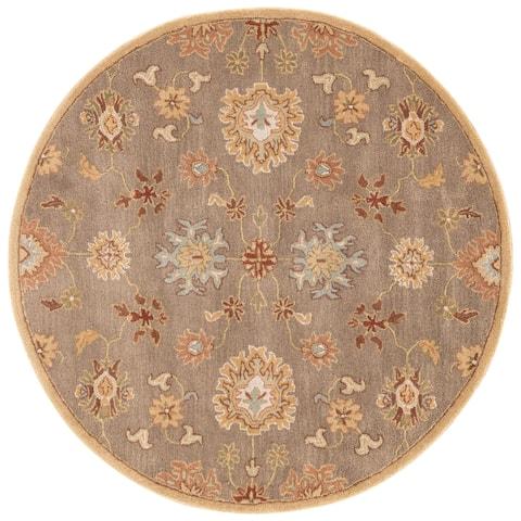 Savani Handmade Floral Brown/ Multicolor Area Rug (6' X 6') - 6' x 6' Round