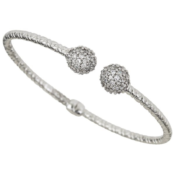 Decadence Sterling Silver Wire Bracelet with Cubic Zirconia Links ...