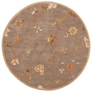 Hand-Tufted Floral Pattern Brown/Red (6x6) - PM01_RD Area Rug