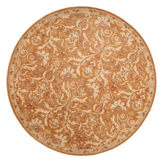 Hand-Tufted Oriental Pattern Orange/Ivory (8x8) - PM33_RD Area Rug