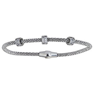 Decadence Sterling Silver Magnetic Mesh Bracelet with CZ Rings