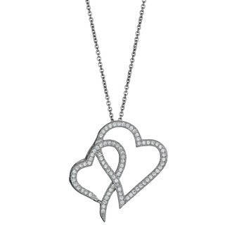 Decadence Sterling Silver Micropave CZ Interlocking Hearts Pendant
