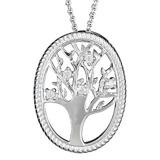 Decadence Sterling Silver Micropave CZ Tree of Life Pendant