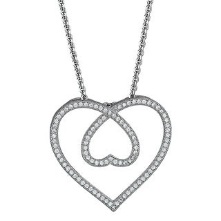 Decadence Sterling Silver Micropave CZ Heart Within a Heart Pendant