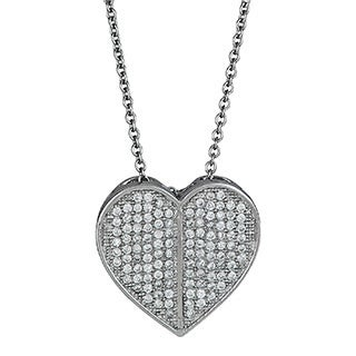 Decadence Sterling Silver Micropave CZ Embellished Heart Pendant