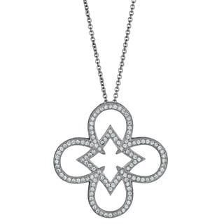 Decadence Sterling Silver Micropave CZ-embellished Open Clover Pendant