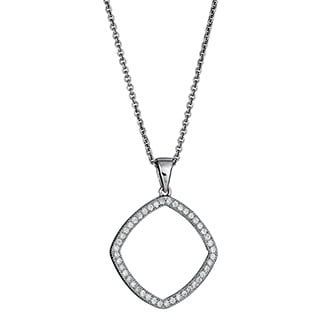 Decadence Sterling Silver Micropave CZ Open Diamond-shape Pendant