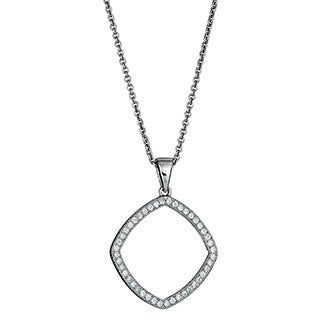 Decadence Sterling Silver Micropave CZ Open Diamond-shape Pendant