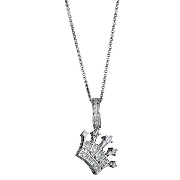 Decadence Sterling Silver Micropave Cubic Zirconia Crown Pendant