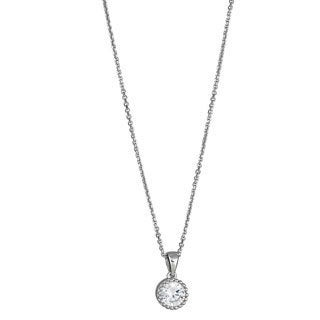 Decadence Sterling Sliver Micropave and Round CZ Solitaire Pendant