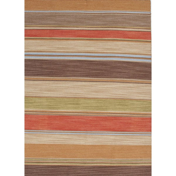 Atacama Handmade Stripe Brown/ Coral Area Rug (8' X 10')