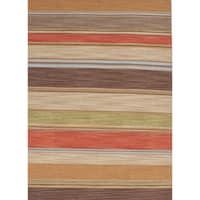 Atacama Handmade Stripe Brown/ Coral Area Rug (8' X 10')