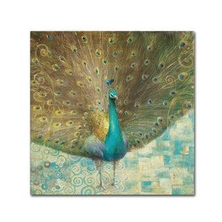 Danhui Nai 'Teal Peacock on Gold' Canvas Art