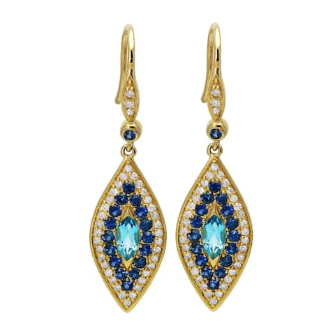14k Yellow Gold 3/8ct. TDW Blue Sapphires and Diamonds Evil Eye Dangling Earrings by Beverly Hills Charm