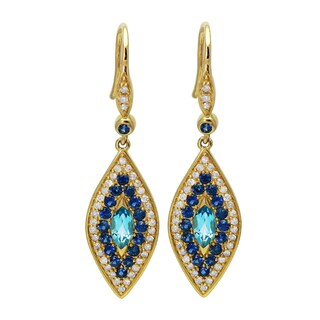 14k Yellow Gold 3/8ct. TDW Diamond and Gemstone Eye Dangle Earrings (H-I, I2-I3)