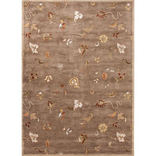 Hand-Tufted Floral Pattern Brown/Red (3.6x5.6) - PM01 Area Rug