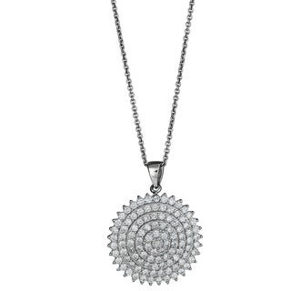 Decadence Sterling Silver Micropave Cubic Zirconia Fancy Circle Pendant