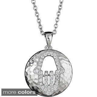 Decadence Sterling Silver Cut-out Hamsa Hammered Pendant with CZ Accents