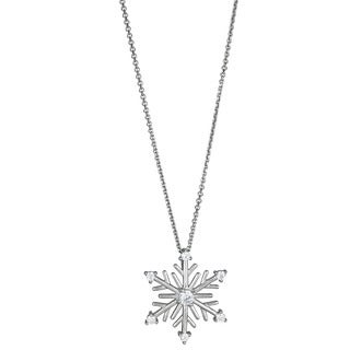 Decadence Sterling Silver Micropave Cubic Zirconia Snowflake Shaped Pendant