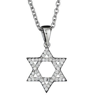 Decadence Sterling Silver Micropave CZ Open Star of David Pendant