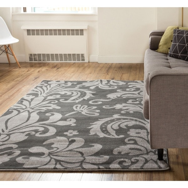 Well Woven Floral Mano Shades of Grey Damask Grey/ Charcoal Polypropylene Rug - 7'10 x 9'10