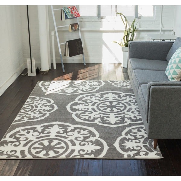 """Well Woven Mano Shades of Grey Suzzani Bold Charcoal White Area Rug - 3'3"""" x 4'7"""""""