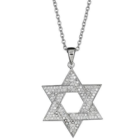 Decadence Sterling Silver Micropave CZ Star of David Pendant