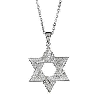 Decadence Sterling Silver Micropave CZ Star of David Pendant|https://ak1.ostkcdn.com/images/products/9809148/P16975565.jpg?impolicy=medium