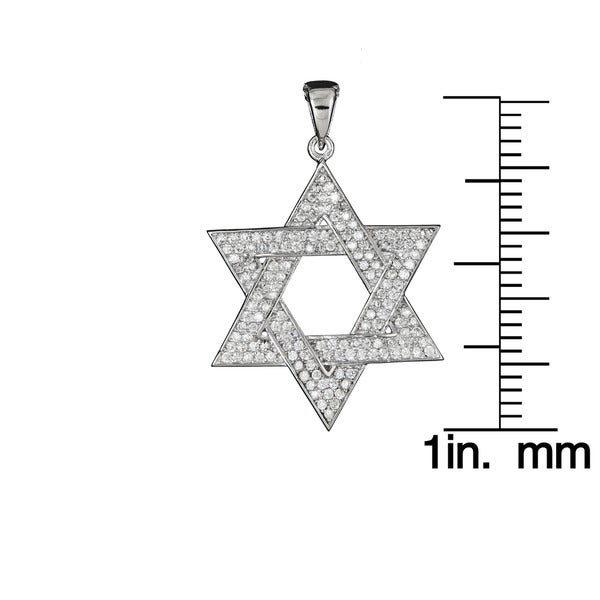 925 STERLING SILVER /& MICRO PAVE CZ STAR OF DAVID PENDANT