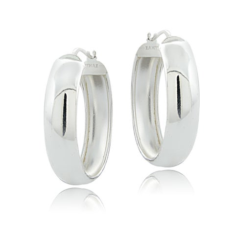 Mondevio Sterling Silver High Polish Half-round 30 mm Hoop Earrings