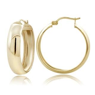 Mondevio Sterling Silver High Polish Half-round 30 mm Hoop Earrings
