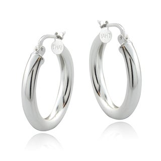 Mondevio Sterling Silver High Polish 20 mm Round Hoop Earrings