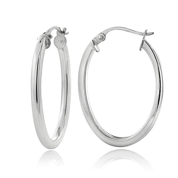 925 Sterling Silver Polished Oval Hoop Earrings 2mm x 25mm