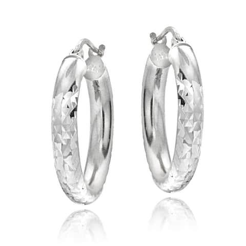 Mondevio Sterling Silver High Polish Diamond Cut 25 mm Hoop Earrings (3mm)