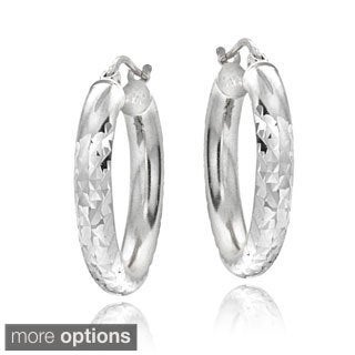 Mondevio Sterling Silver High Polish Diamond Cut 25 mm Hoop Earrings (3mm)