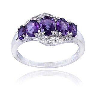 Glitzy Rocks Sterling Silver Amethyst Topaz 5-stone Ring (More options available)