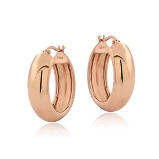 Mondevio Sterling Silver High Polish Half-round 18 mm Hoop Earrings